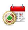 Beer cap and calendar vector image