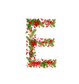christmas floral tree letter E vector image vector image