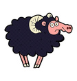 comic cartoon black sheep vector image