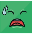 green emoticon crying graphic vector image