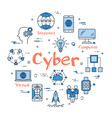 round linear banner - cyber technology vector image