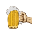 sketch of hand holding mug of beer vector image