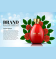 perfume red rose and green leaf bottles on soft vector image