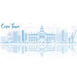 Outline Cape town skyline with blue buildings vector image
