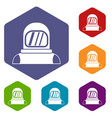 astronaut icons set vector image