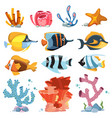 cartoon aquarium decor objects - underwater vector image