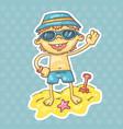 cartoon boy on the beach vector image