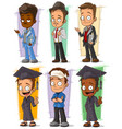 cartoon happy college student character set vector image