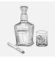 Creative sketch of whiskey composition vector image