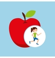 girl jogger apple healthy lifestyle vector image