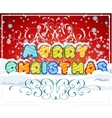 Merry christmas hand-lettering text on snowy vector image