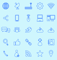 Network line icons on blue background vector image