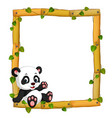 panda on the wood frame with roots and leaf vector image