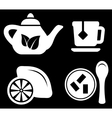 set white tea objects vector image