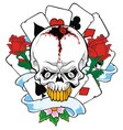 Skulls with playing cards vector image