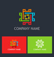 square colorful maze technology logo vector image