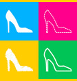 woman shoe sign four styles of icon on four color vector image