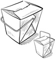 doodle chinese takeout box vector image vector image