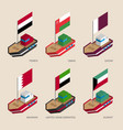 isometric ships with flags of gulf countries vector image