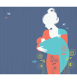 Beautiful mother silhouette with baby in a sling Vector Image