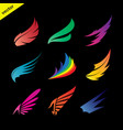 colorful wing icons set on black background vector image