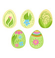 floral funny easter egg collection doodle style vector image