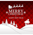 merry christmas happy new year white paper red vector image