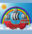 pirate ship in the sky vector image