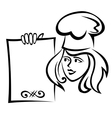 Restaurant chef with menu paper vector image vector image