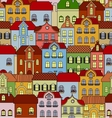 Seamless pattern with retro buildings and houses vector image vector image