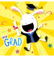 rabbit animal congratulation new graduate cute car vector image
