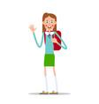 schoolgirl with a backpack waving her hand vector image