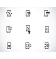 black mobile banking icons set vector image vector image