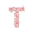 Romantic floral letter T vector image vector image