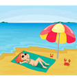 Girl sunbathing vector image