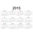 Calendar 2015 simple design vector image