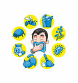 cartoon colorful allergy collection vector image