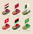 isometric ships with flags of middle east vector image