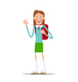 schoolgirl with a backpack waving her hand vector image