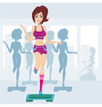 silhouettes of people exercising in a gym vector image
