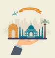 welcome to india attractions of india on a tray vector image