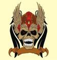 skull in an ancient helmet of Vikings vector image vector image