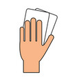 color silhouette of hand with soccer referee cards vector image