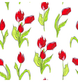 seamless wallpaper with red tulips flowers vector image vector image