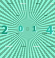 Calendar 2014 on green rays background vector image