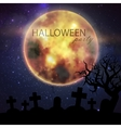 Halloween with full moon and cemetery on the night vector image