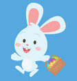 happy bunny with egg on basket vector image