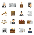 Law Icons Flat Set vector image
