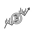 Line financial arrow up to bitcoin currency vector image