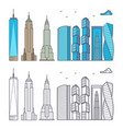 linear and colorful city skyscrapers isolated on vector image